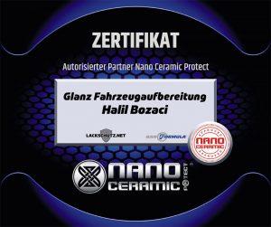 Glanz Fahrzeugaufbereitung Bergkamen | Nano-Ceramic-Zertifikat